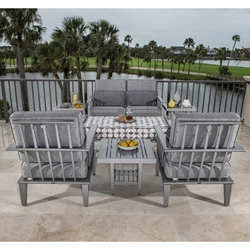 Woodard Van Dyke Aluminum Outdoor Furniture Set with Cushions - WD-VANDYKE-SET3