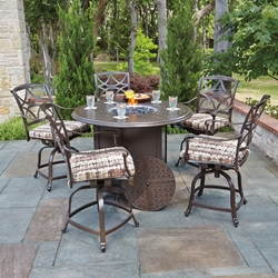 Woodard Wiltshire 6 Piece Counter Height Fire Pit Set