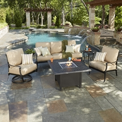 Woodard Wiltshire Patio Sofa Fire Table Set - WD-WILTSHIRE-SET4
